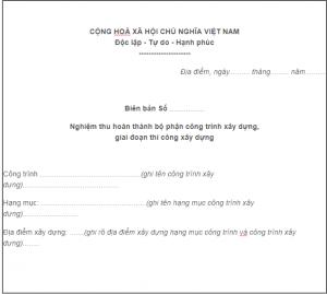 Mẫu biên bản nghiệm thu bộ phận công trình xây dựng giai đoạn thi công xây dựng