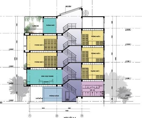 Bản vẽ kiến trúc nhà lệch tầng